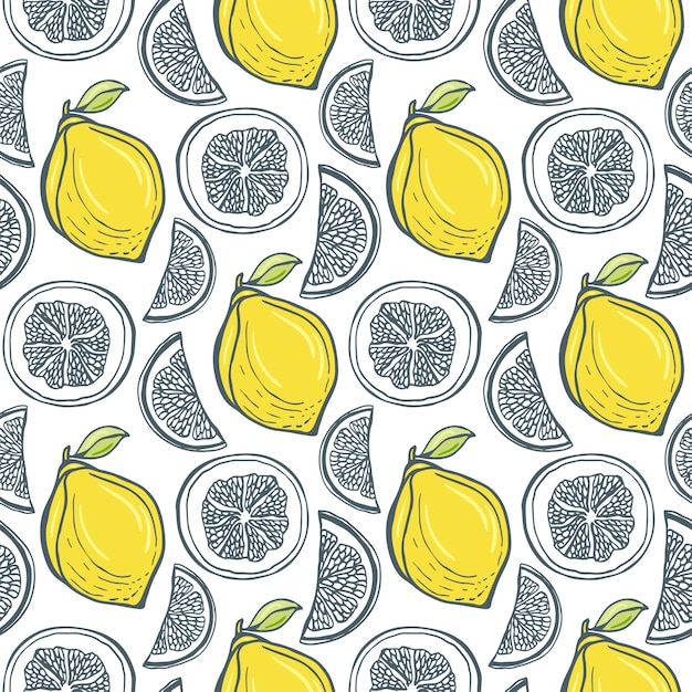 Lindo patrón de limones amarillos. vector handdrawn fondo ...