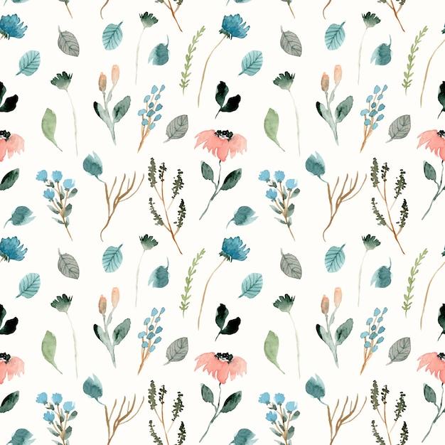 Lindo patrón floral acuarela floral salvaje Vector Premium