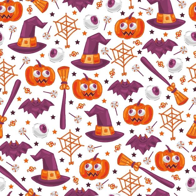 Lindo patrón transparente de elementos de halloween sobre fondo blanco para papel tapiz, envoltura, embalaje. Vector Premium