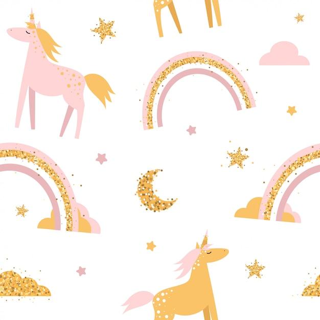 Lindo patrón transparente con unicornios y arco iris. Vector Premium