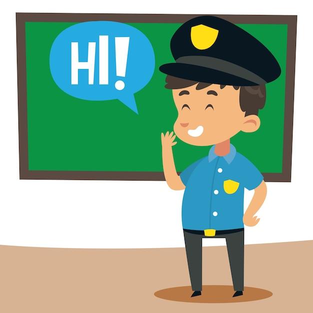 Lindo pequeño oficial de policía diciendo hola   Descargar Vectores ...
