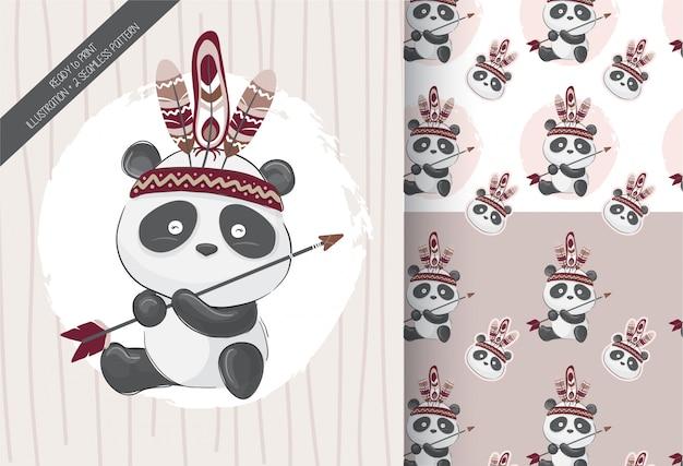Lindo pequeño panda tribal con patrones sin fisuras Vector Premium