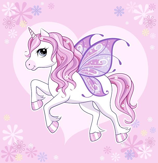 Lindo y pequeño personaje de unicornio con alas de mariposa sobre rosa Vector Premium