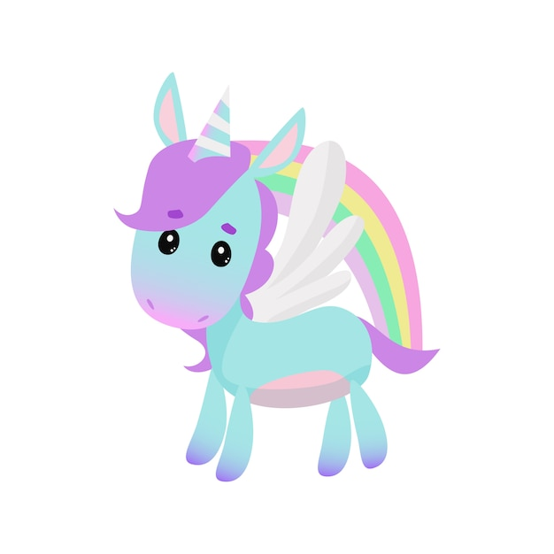 Lindo pequeño unicornio y arco iris vector gratuito