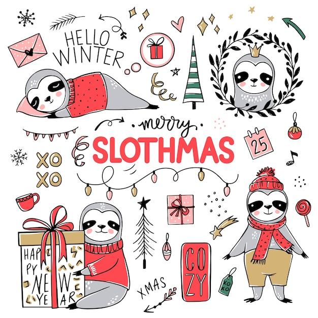 Lindo perezoso, colección feliz navidad. doodle osos perezosos perezosos con bufanda, caja de regalo, sombrero. feliz año nuevo y navidad conjunto de animales. Vector Premium