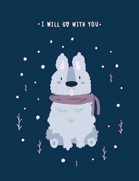 Lindo perro cachorro. mascota encantadora Vector Premium