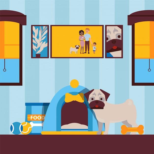Lindo perro en casa, animal mascota en la ilustración del apartamento Vector Premium