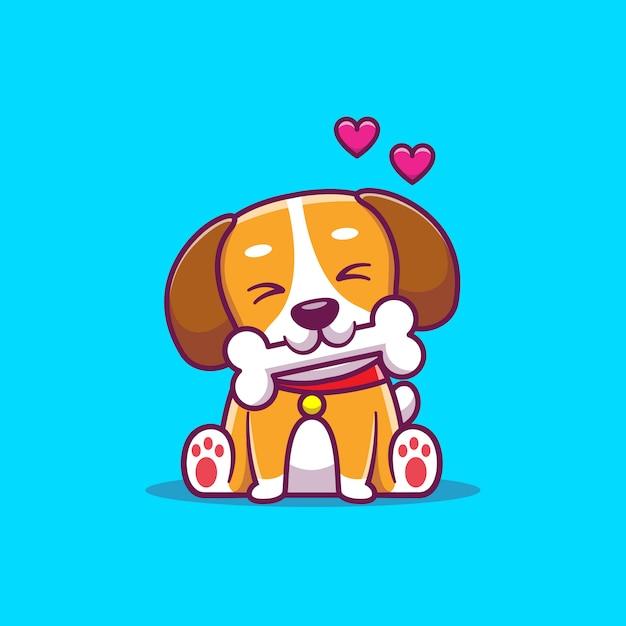 Lindo perro comer hueso Vector Premium