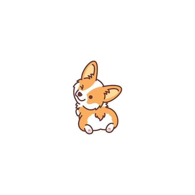 Lindo perro corgi mirando hacia atrás y guiñando el icono Vector Premium