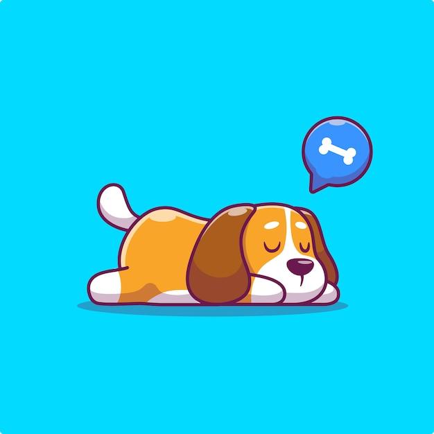 Lindo perro durmiendo Vector Premium