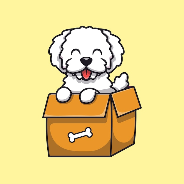 Lindo perro jugando en la ilustración de dibujos animados de caja. concepto de naturaleza animal aislado plano dibujos animados vector gratuito
