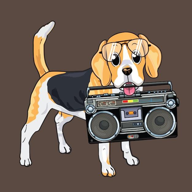 Lindo perro mordiendo un boombox Vector Premium