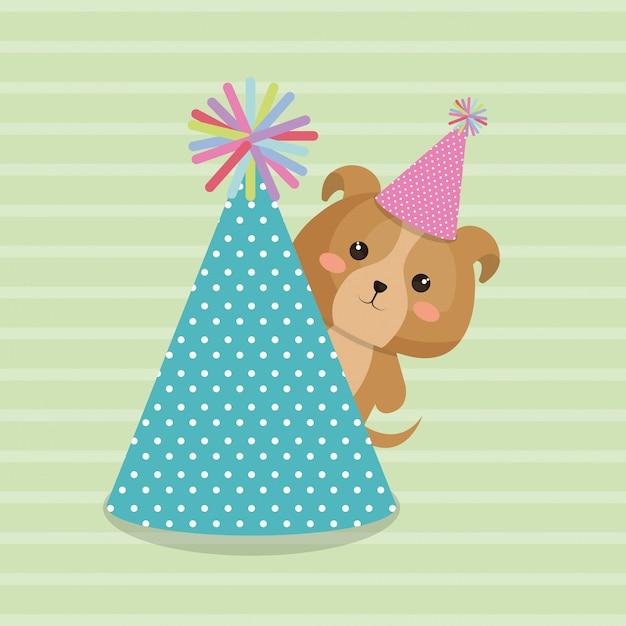 Lindo perro con sombrero fiesta kawaii tarjeta de cumpleaños vector gratuito