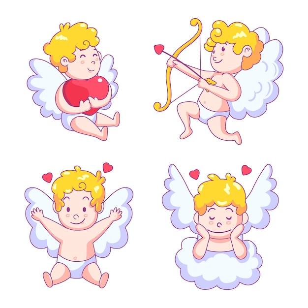 Lindo personaje de ángel cupido con alas vector gratuito