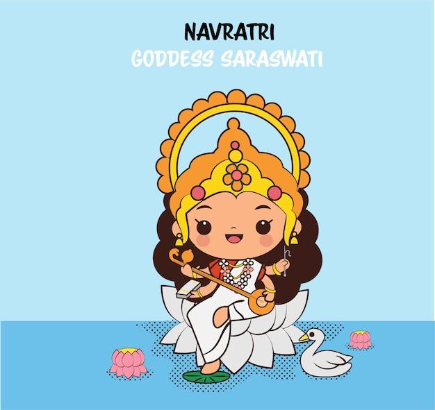 Lindo personaje de dibujos animados de la diosa saraswati para el festival navratri en india Vector Premium