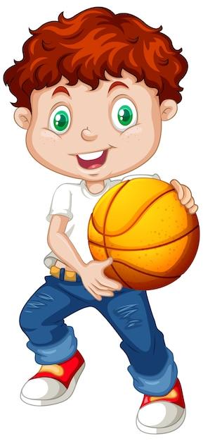 Lindo personaje de dibujos animados de youngboy con baloncesto vector gratuito