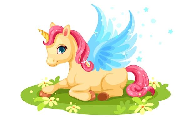 Lindo personaje de fantasía de unicornio bebé vector gratuito