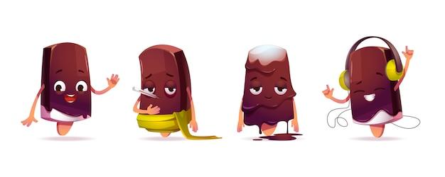 Lindo personaje de helado en diferentes poses vector gratuito