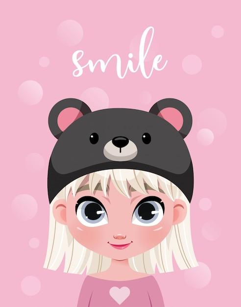 Lindo personaje de niña con sombrero sobre fondo rosa con bokeh Vector Premium