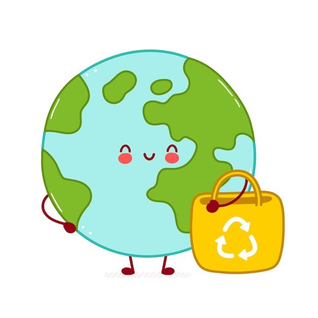Lindo personaje de planeta tierra divertido feliz con bolsa ecológica. diseño de icono de ilustración de personaje de dibujos animados. aislado sobre fondo blanco Vector Premium