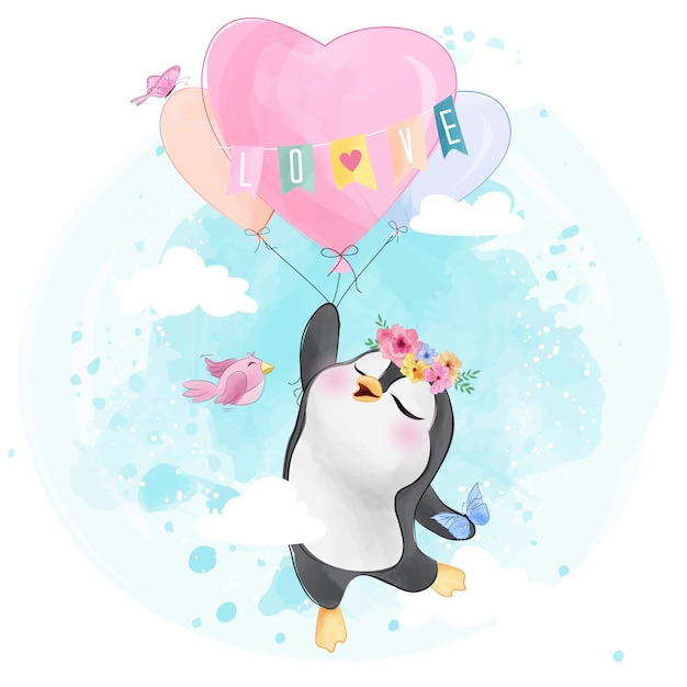 Lindo pingüino con globo en forma de corazón Vector Premium