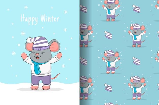 Lindo ratón jugando con tarjeta y patrones sin fisuras de nieve Vector Premium