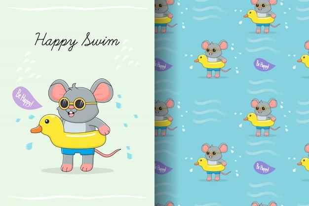 Lindo ratón nadando con tarjeta y patrones sin fisuras de goma de pato amarillo Vector Premium