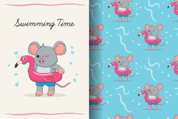Lindo ratón de natación con tarjeta y patrones sin fisuras de flamenco de goma rosa Vector Premium