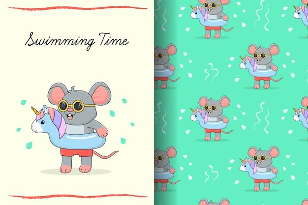 Lindo ratón de natación con tarjeta y patrones sin fisuras de unicornio de goma azul Vector Premium