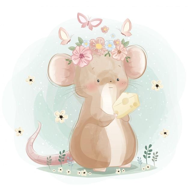 Un lindo ratón sosteniendo un queso Vector Premium