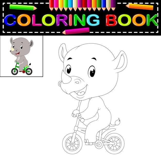 Lindo rinoceronte feliz para colorear | Descargar Vectores Premium