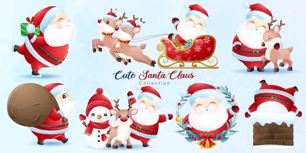 Lindo santa claus y amigos para el día de navidad con ilustración de acuarela Vector Premium