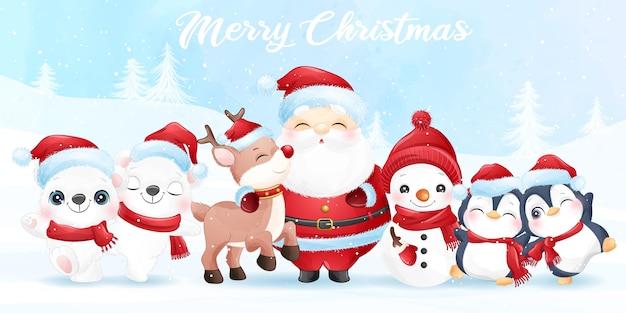 Lindo santa claus y amigos para navidad con banner de acuarela Vector Premium