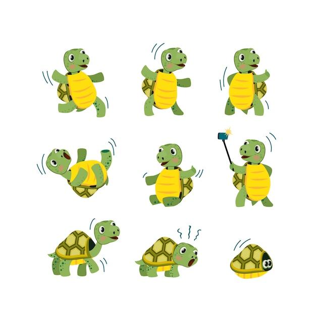 Lindo set de tortuga pequeña vector gratuito