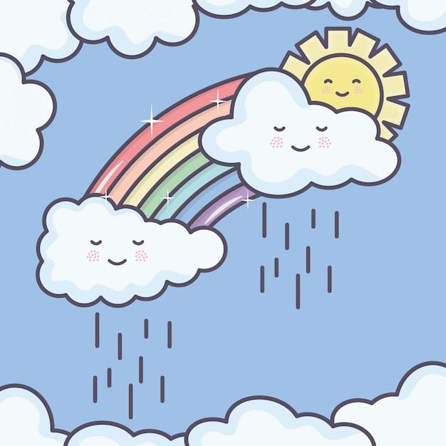 Lindo sol de verano y nubes lluviosas con personajes de kawaii de arco iris vector gratuito