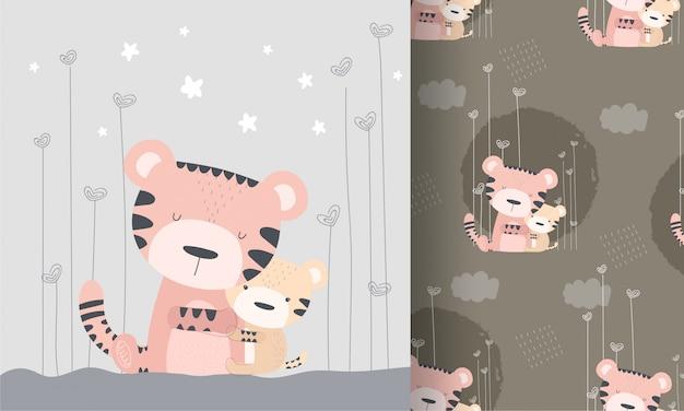 Lindo tigre con bebé oso de patrones sin fisuras Vector Premium