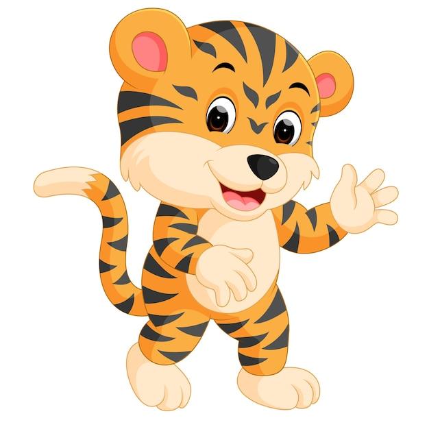 Lindo tigre de dibujos animados dando pulgar | Vector Premium