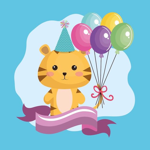 Lindo tigre con globos de aire kawaii tarjeta de cumpleaños ... 0160f7ed66d