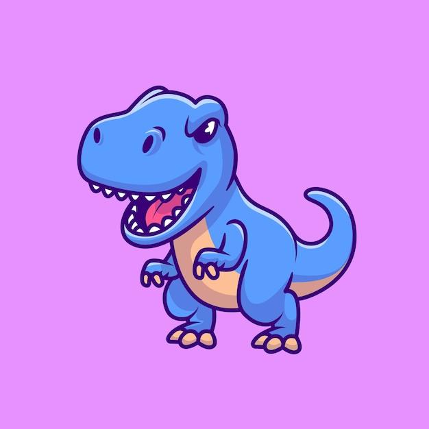 Lindo tiranosaurio rex azul vector gratuito