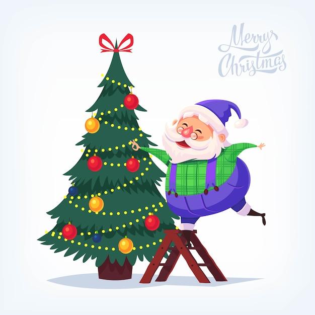 Lindo traje azul de dibujos animados santa claus decorando el árbol de navidad feliz navidad ilustración Vector Premium
