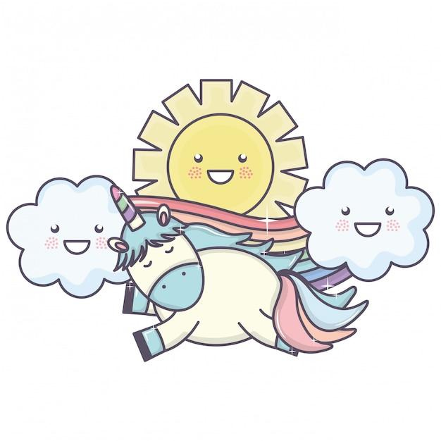 Lindo unicornio en el arco iris con nubes y sol kawaii personajes vector gratuito