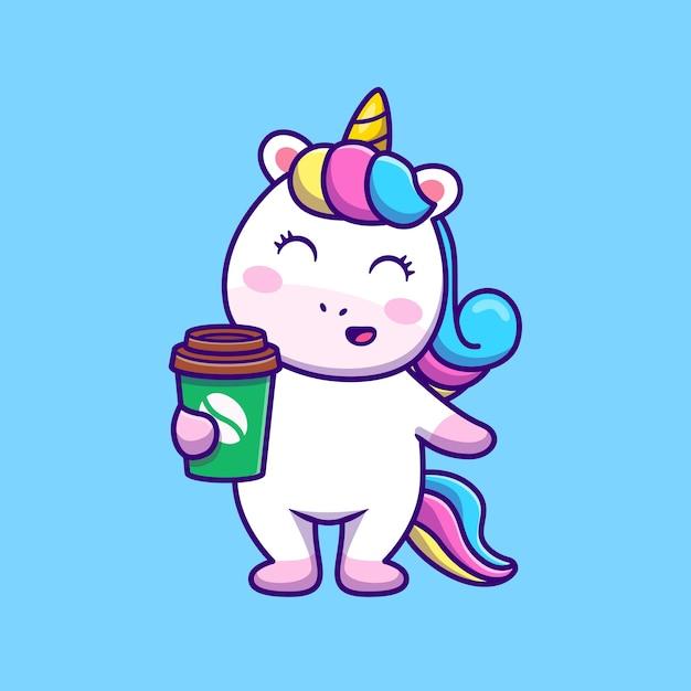 Lindo unicornio con café ilustración vectorial de dibujos animados. vector gratuito