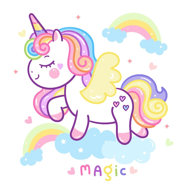 Lindo unicornio en el cielo Vector Premium