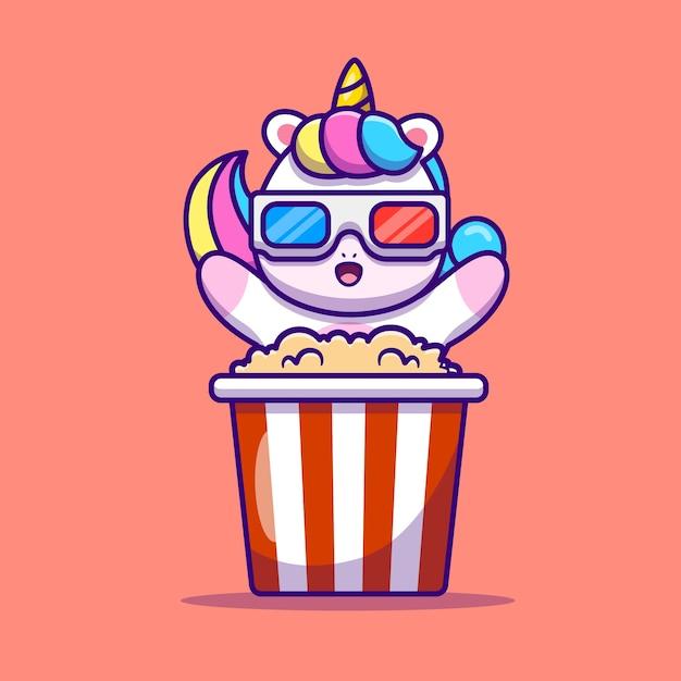 Lindo unicornio comiendo palomitas de maíz ilustración vectorial de dibujos animados. vector aislado del concepto de la comida animal. estilo de dibujos animados plana vector gratuito