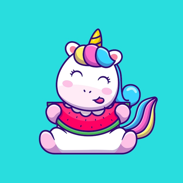 Lindo unicornio comiendo sandía dibujos animados vector gratuito