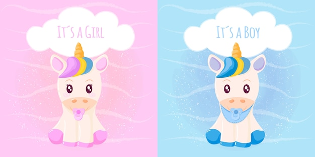 Lindo unicornio, es una niña, es un niño Vector Premium