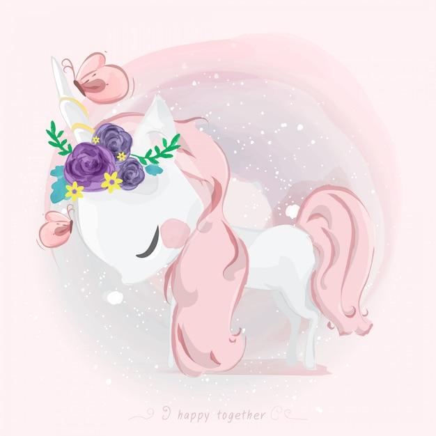 Lindo unicornio en estilo acuarela. Vector Premium