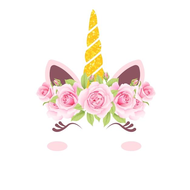 Lindo unicornio floral Vector Premium
