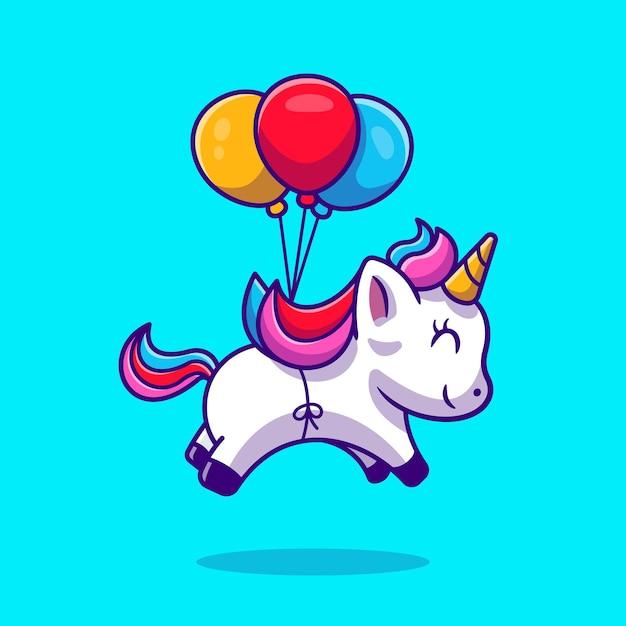 Lindo unicornio flotando con globo de dibujos animados vector icono ilustración. concepto de icono de amor animal. estilo de dibujos animados plana vector gratuito