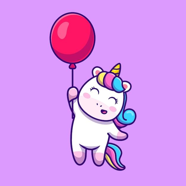 Lindo unicornio flotando con globo de dibujos animados vector icono ilustración. vector gratuito